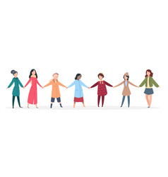 female manifestation women holding hands young vector image