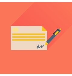 Flat icon with long shadow bank check vector