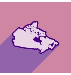 Flat icon with long shadow map of Canada vector