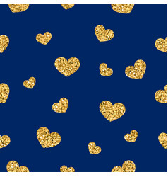 Gold heart seamless pattern golden chaotic vector