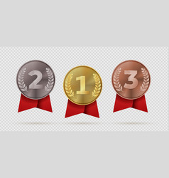 gold silver bronze champion medal with red vector image