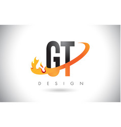 Gt g t letter logo with fire flames design and vector