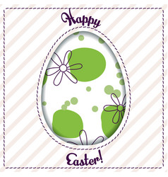 Happy easter card with egg cutout vector