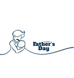Happy fathers day background with dad caring his vector