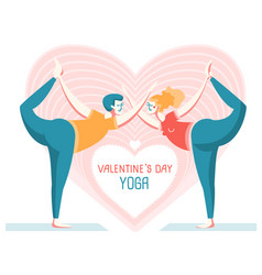 happy valentines day yoga card couple of man and vector image
