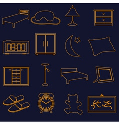 home bedroom outline simple icons set eps10 vector image
