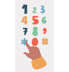 Human finger is pushing numbers and symbols vector