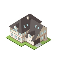 isometric large private cottage or house for real vector image