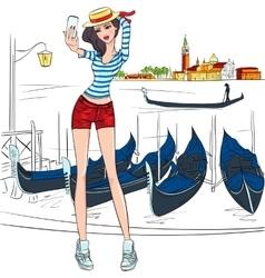 Lovely fashion girl makes selfie in Venice vector