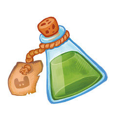 Magic bottle with green potion icon cartoon of vector