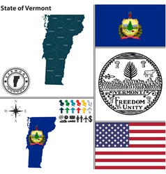 map vermont with seal vector image