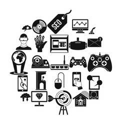modern game icons set simple style vector image