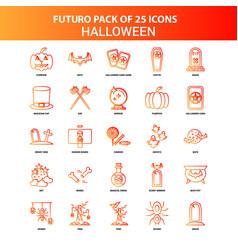 Orange futuro 25 halloween icon set vector