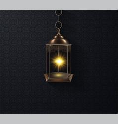 ornamental arabic lantern glowing at night vector image