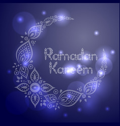 Ornate crescent moon for the ramadan greeting card vector