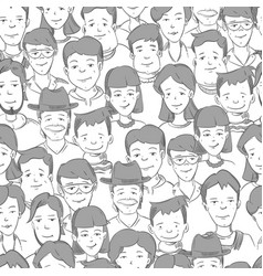 People crowd with many faces human heads vector