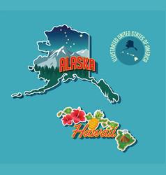 pictorial map alaska and hawaii vector image