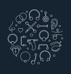 piercing round made vector image