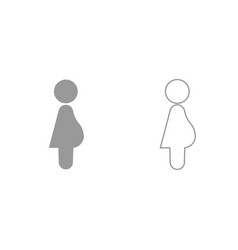 pregnant woman grey set icon vector image
