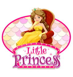princess cartoon character with little vector image