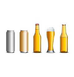 Realistic set of beer mock up glass bottle vector