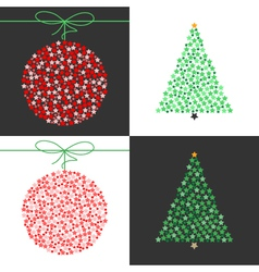 Red Christmas ball and green Christmas tree set vector