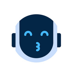 Robot face icon smiling face blow kiss emotion vector