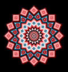 round tribal geometric pattern on black background vector image