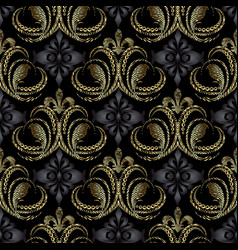 royal 3d baroque seamless pattern vintage vector image