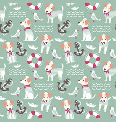 Sailor terrier dog seamless pattern vector