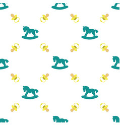 seamless pattern with baby pacifier and rocking vector image