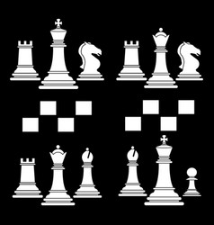 set chess club play icon white vector image