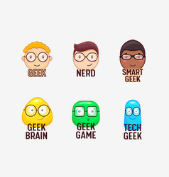set icons nerds and geeks funny faces isolated vector image
