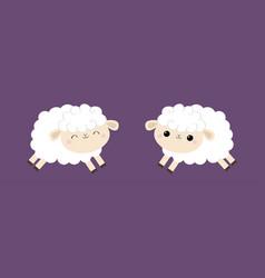 sheep lamb icon set cloud shape jumping animal vector image
