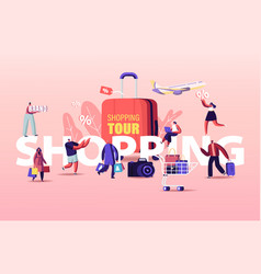 Shopping tour concept buyers characters seasonal vector