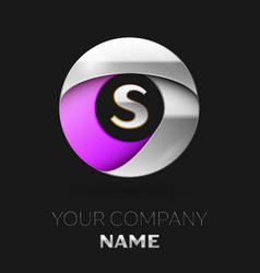 silver letter s logo in the silver-purple circle vector image