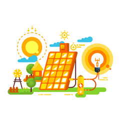 solar battery for lighting and energy design vector image