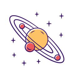 Solar system color icon celestial bodies orbiting vector