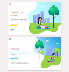 spending time in park freelancer at work outdoors vector image