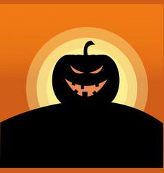 sunset jack o lantern evil vector image