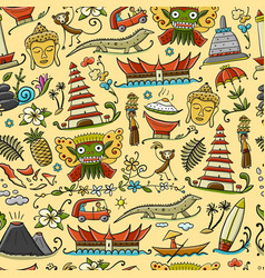 Travel to indonesia seamless pattern for your vector