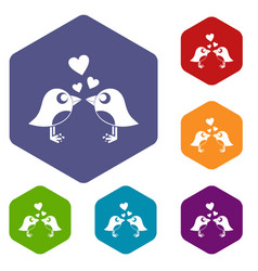 Two birds with hearts icons set hexagon vector