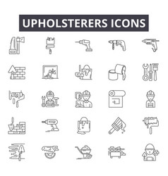 Upholsterers line icons for web and mobile design vector