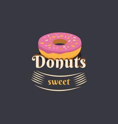 Vintage logo donut vector