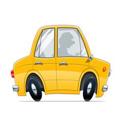 vintage yellow car cartoon vector image