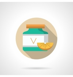 Vitamins supplement jar flat color icon vector image