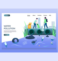water pollution website landing page design vector image