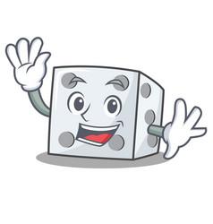 Waving dice character cartoon style vector