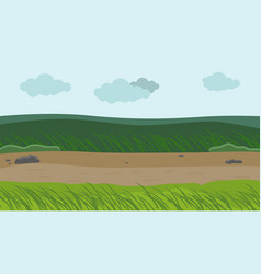 Windy weather at field green grass bend down fom vector