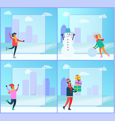 winter posters collection vector image